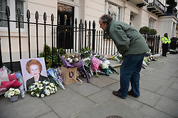 Outside the residence of Baroness Thatcher in Chester Square, London, UK, Monday 8 April, 2013. Photo By Andrew Parsons / i-lmages.