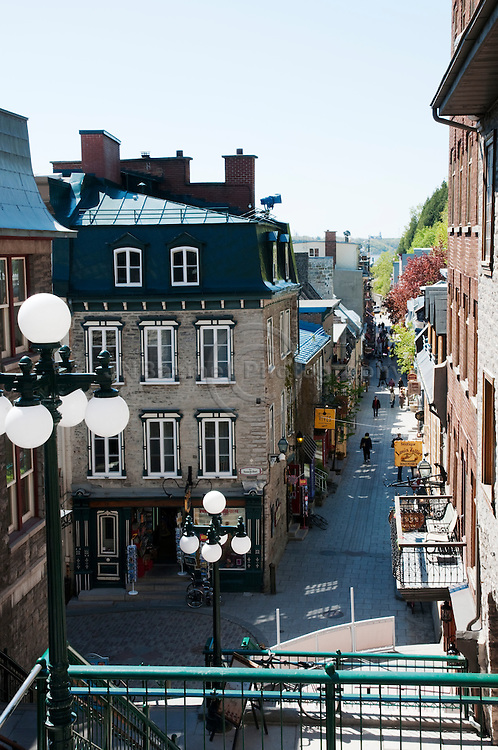 """Rue Petit Champlain from the top of """"L'escalier casse-cou"""" in old Quebec city."""