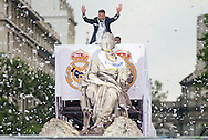 Real Madrid players celebrate winning the UEFA Champions League with an open top bus tour at Cibeles Square, Madrid<br /> Picture by EXPA Pictures/Focus Images Ltd 07814482222<br /> 29/05/2016<br /> ***UK &amp; IRELAND ONLY***<br /> EXPA-ESP-160529-0122.jpg
