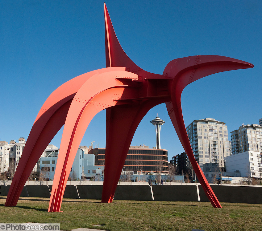 """Eagle"" 1971 painted steel by Alexander Calder (1898-1976), at Seattle Art Museum's Olympic Sculpture Park, 2901 Western Avenue, Seattle, Washington 98121. The Space Needle rises in background. Stitched from 3 overlapping images."