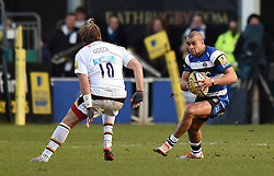 Bath Rugby centre Jonathan Joseph faces Wasps fly half Andy Goode - Photo mandatory by-line: Paul Knight/JMP - Mobile: 07966 386802 - 10/01/2015 - SPORT - Rugby - Bath - The Recreation Ground - Bath Rugby v Wasps - Aviva Premiership