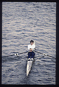 London. United Kingdom.  USA W1X. Ann MARDEN. 1990 Scullers Head of the River Race. River Thames, viewpoint Chiswick Bridge Saturday 07.04.1990<br /> <br /> [Mandatory Credit; Peter SPURRIER/Intersport Images] 19900407 Scullers Head, London Engl