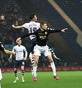 Alan Browne and Liam Feeney battle during the Sky Bet Championship match between Preston North End and Bolton Wanderers at Deepdale, Preston, England on 31 October 2015. Photo by Pete Burns.