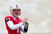 DALLAS, TX - DECEMBER 7: Neal Burcham #12 of the SMU Mustangs calls a timeout against the Central Florida Knights on December 7, 2013 at Gerald J. Ford Stadium in Dallas, Texas.  (Photo by Cooper Neill) *** Local Caption *** Neal Burcham