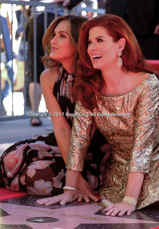 Actress Mariska Hargitay, left, at a ceremony honoring actress Debra Messing with a star on the Hollywood Walk of Fame on Friday, Oct. 5, 2017, in Los Angeles.(Photo by Ringo Chiu)<br /> <br /> Usage Notes: This content is intended for editorial use only. For other uses, additional clearances may be required.