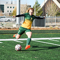 4th year forward Brianna Wright (7) of the Regina Cougars in action during the Women's Soccer home game on October 22 at U of R Field. Credit: Arthur Ward/Arthur Images