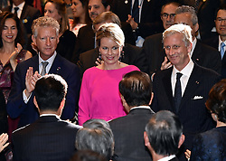 October 14, 2016 - Osaka, JAPAN - State Secretary for Foreign Trade Pieter De Crem, Queen Mathilde of Belgium and King Philippe - Filip of Belgium pictured during a concert 'Japan and Belgium, one in music' in the Knowledge Theater Osaka, on day five of a state visit to Japan of the Belgian Royals, Friday 14 October 2016, in Osaka, Japan. BELGA PHOTO ERIC LALMAND (Credit Image: © Eric Lalmand/Belga via ZUMA Press)
