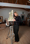 JJane McAdam Freud with her piece called Mm & Mm 2010 at her studio in Harrow London on 03.02.2012..Fine artist Jane McAdam Freud will present her latest body of work entitled Family Matters in a solo exhibition at Gazelli Art House. From 24 April - 25 May 2012, Freud will display an array of personal sculptures and drawings that focus on her familial/ancestral relationships and the broader concept of family at the new Dover Street gallery. ..photo Ki Price