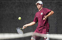 Texas Tech vs. Texas A&M in a NCAA men's tennis match Feb. 12th, 2017, in College Station, Texas.