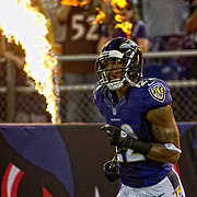 August 17, 2012:  Baltimore Ravens defensive back Jimmy Smith (22) comes out to fireworks during the game between the Baltimore Ravens and the Detroit Lions at M&T Bank Stadium in Baltimore, MD.  The Detroit Lions defeat the Baltimore Ravens 27-12. (Credit Image: © Kostas Lymperopoulos/Cal Sport Media)
