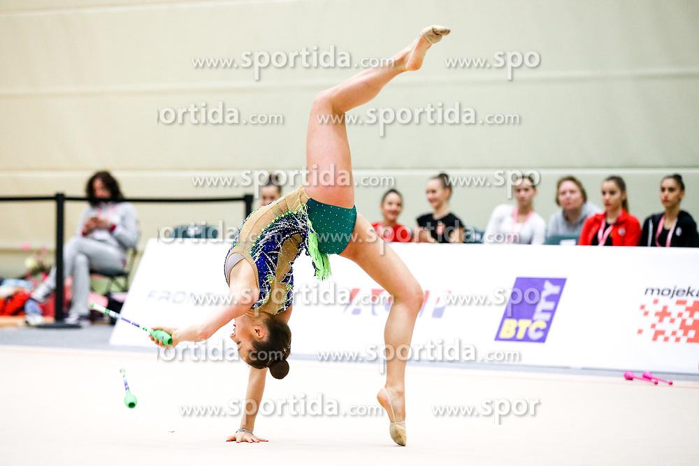 Anja Tomazin of Slovenia competes during 31st MTM - International tournament in rhythmic gymnastics Ljubljana, on April 7, 2018 in Gymnastics center Ljubljana, Ljubljana, Slovenia. Photo by Matic Klansek Velej / Sportida