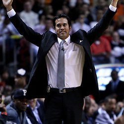 March 10, 2011; Miami, FL, USA; Miami Heat head coach Erik Spoelstra against the Los Angeles Lakers during the second quarter at the American Airlines Arena.  Mandatory Credit: Derick E. Hingle