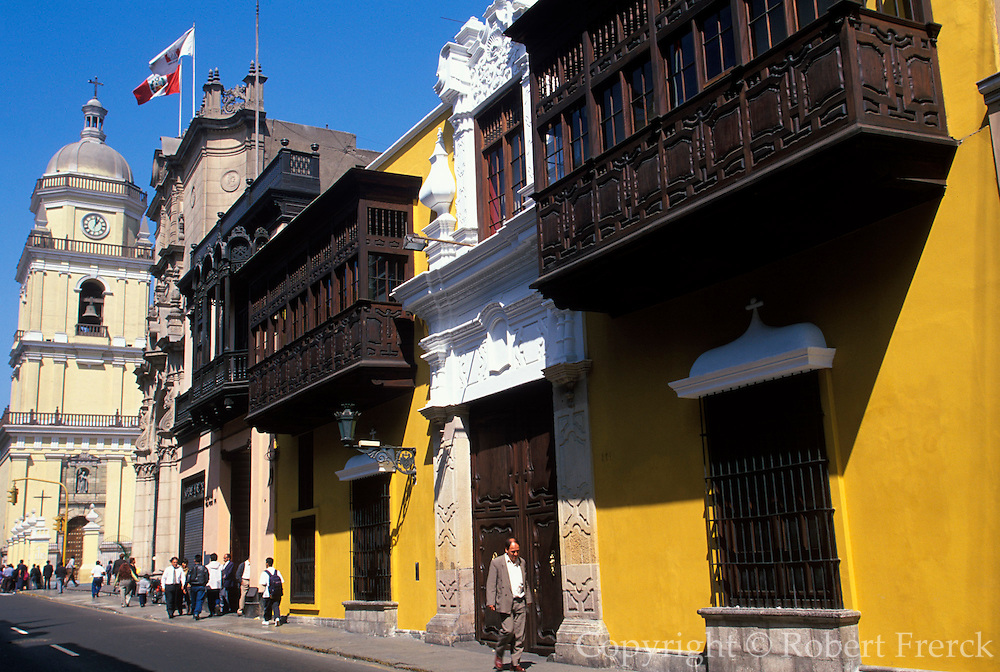 PERU, LIMA, COLONIAL colonial mansion with balconies