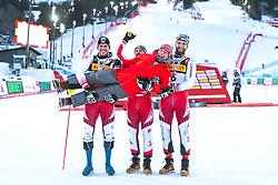 17.02.2019, Aare, SWE, FIS Weltmeisterschaften Ski Alpin, Slalom, Herren, Siegerehrung, im Bild v.l.: Silbermedaillengewinner Michael Matt (AUT), Weltmeister und Goldmedaillengewinner Marcel Hirscher (AUT), Bronzemedaillengewinner Marco Schwarz (AUT), Prof. Peter Schröcksnadel (ÖSV Präsident) // f.l.: Silver medalist Michael Matt of Austria World champion and gold medalist Marcel Hirscher of Austria Bronze medalist Marco Schwarz of Austria Peter Schroecksnadel Austrian Ski Association President during the winner Ceremony for the men's Slalom of FIS Ski World Championships 2019. Aare, Sweden on 2019/02/17. EXPA Pictures © 2019, PhotoCredit: EXPA/ Dominik Angerer