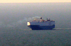 Friday 24th February 2017. Isle of Wight  US Cargo Ship Catches Fire in the English Channel<br /> <br /> The UK Coastguard  are coordinating incident involving fire on car carrier in the English Channel<br /> At around 3:45am today (Friday 24 February 2017) UK Coastguard was notified of a fire on board the US car carrier &lsquo;Honor&rsquo; in the English Channel whilst it was on route to Baltimore from Southampton.<br /> <br /> The vessel&rsquo;s fixed firefighting systems were used to attack the fire and the cargo space has been sealed.  The ship&rsquo;s crew continue to monitor the cargo area.<br /> <br /> The ship has full manoeuvrability and has turned back towards Southampton, where it is planned to anchor to the South East of the Isle of Wight.<br /> <br /> UK Coastguard is monitoring the situation closely and the Hampshire Fire and Rescue Service has been notified of the incident.<br /> <br /> <br /> <br /> <br /> Andy Jenkins, Commander for the UK Coastguard said: &lsquo;The 21 crew are still on board the vessel and they are safe and well. We will continue to monitor the situation and provide updates as it develops.&rsquo; &copy;UKNIP