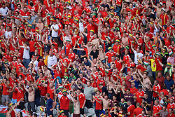 LENS, FRANCE - Thursday, June 16, 2016: Wales supporters celebrates their side's first goal against England during the UEFA Euro 2016 Championship Group B match at the Stade Bollaert-Delelis. (Pic by Paul Greenwood/Propaganda)