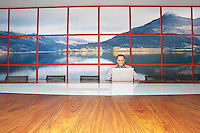 Smiling Businessman Using Laptop in modern Conference Room