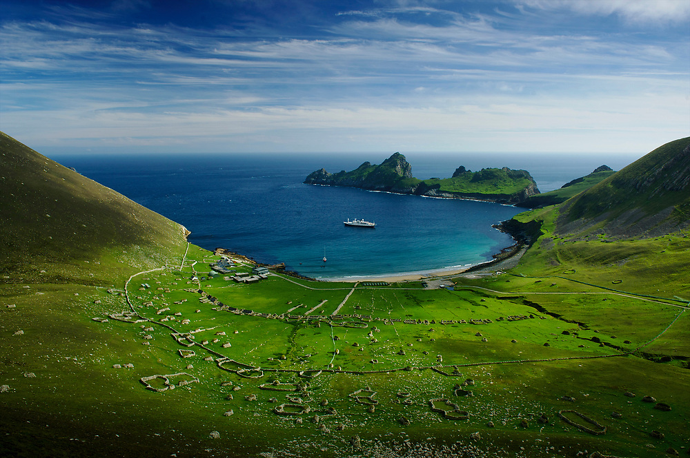 St. Kilda is a small group of islands some 40 miles west of the Outer Hebrides off the northwest coast of Scotland.  It is famous for its bird colonies and the story of the evacuation of the people of St. Kilda in 1930, after thousands of years of human occupation.