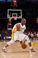25 December 2011: Guard Kobe Bryant of the Los Angeles Lakers dribbles the ball through his legs against the Chicago Bulls during the second half of the Bulls 88-87 victory over the Lakers at the STAPLES Center in Los Angeles, CA.