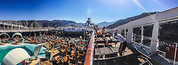 An iPhone6 panoramic image on the port of Khasab. Images from the MSC Musica cruise to the Persian Gulf, visiting Abu Dhabi, Khor al Fakkan, Khasab, Muscat, and Dubai, traveling from 13/12/2015 to 20/12/2015.