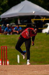 September 22, 2018 - Morrisville, North Carolina, US - Sept. 22, 2018 - Morrisville N.C., USA - Team Canada DILON HEYLIGER (20) delivers during the ICC World T20 America's ''A'' Qualifier cricket match between USA and Canada. Both teams played to a 140/8 tie with Canada winning the Super Over for the overall win. In addition to USA and Canada, the ICC World T20 America's ''A'' Qualifier also features Belize and Panama in the six-day tournament that ends Sept. 26. (Credit Image: © Timothy L. Hale/ZUMA Wire)