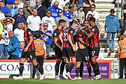AFC Bournemouth Players Celebrate after AFC Bournemouth Midfielder, Ryan Fraser (24) scores a goal 1-0 during the Premier League match between Bournemouth and Leicester City at the Vitality Stadium, Bournemouth, England on 15 September 2018.