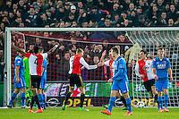 ROTTERDAM - 03-03-2016, Feyenoord - AZ, stadion de Kuip, Feyenoord speler Dirk Kuyt (4vr) heeft de 1-0 gescoord, doelpunt, Feyenoord speler Sven van Beek (5vr), AZ speler Stijn Wuytens teleurstelling, Feyenoord speler Terence Kongolo (l), juicht, juichen.