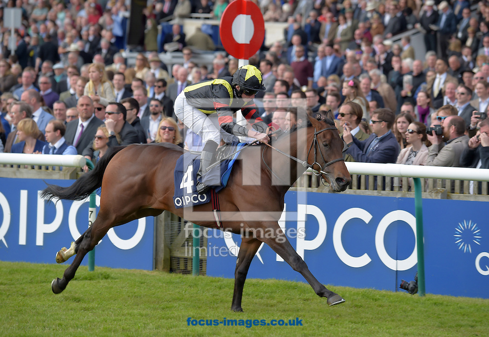 Global Applause with Ryan Moore (black with black cap and yellow star) wins Hot Streat Future Stars Maiden Stakes  during the QIPCO Guineas Festival  on the  Newmarket Rowley Mile Course, Newmarket, UK.<br /> Picture by Martin Lynch/Focus Images Ltd 07501333150<br /> 01/05/2016