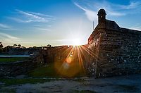 Historic San Marcos Castle in St. Augustine, Florida at sunset.