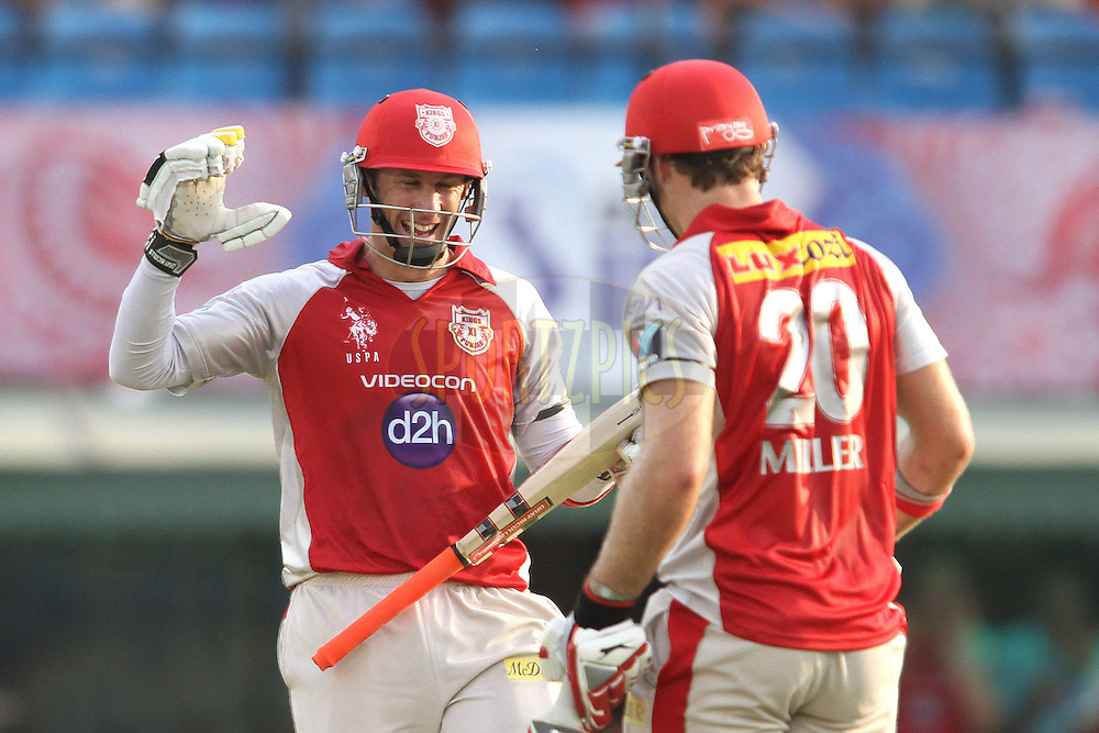 Kins XI Punjab captain David Hussey congratulates David Miller of the Kings XI Punjab for closing out the innings with a boundary during match 33 of the the Indian Premier League (IPL) 2012  between The Kings X1 Punjab and The Mumbai Indians held at the Punjab Cricket Association Stadium, Mohali on the 25th April 2012..Photo by Shaun Roy/IPL/SPORTZPICS