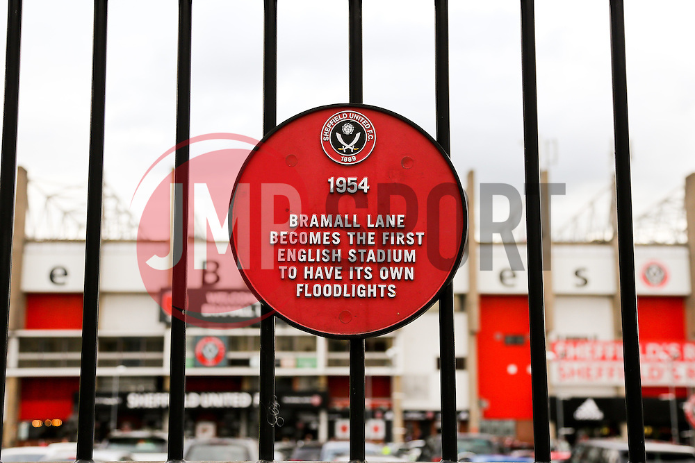 A plaque outside of Bramall Lane dated 1954 when Bramall Lane was named the first English stadium to have its own floodlights - Photo mandatory by-line: Matt McNulty/JMP - Mobile: 07966 386802 - 07/05/2015 - SPORT - Football - Sheffield - Bramall Lane - Sheffield United v Swindon Town - Sky Bet League One