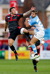 Georgia Winger Giorgi Aptsiauri and Argentina Winger Santiago Cordero compete in the air for a high ball - Mandatory byline: Rogan Thomson/JMP - 07966 386802 - 25/09/2015 - RUGBY UNION - Kingsholm Stadium - Gloucester, England - Argentina v Georgia - Rugby World Cup 2015 Pool C.