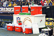 SAN DIEGO - DECEMBER 5:  Gatorade cart, cooler, bottles, and cups on the sidelines of the San Diego Chargers game against the Denver Broncos on December 5, 2004 at Qualcomm Stadium in San Diego, California. The Chargers defeated the Broncos 20-17. ©Paul Anthony Spinelli