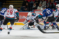 KELOWNA, CANADA - MARCH 11:  Jackson Whistle #1 of Kelowna Rockets makes a save against the Victoria Royals on March 11, 2015 at Prospera Place in Kelowna, British Columbia, Canada.  (Photo by Marissa Baecker/Shoot the Breeze)  *** Local Caption *** Jackson Whistle;