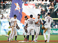 Jun 22, 2016; Houston, TX, USA; The Houston Astros celebrate the win against the Los Angeles Angels at Minute Maid Park. Astros won 3 to 2. Mandatory Credit: Thomas B. Shea-USA TODAY Sports