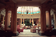 SPAIN, MADRID The Palace Hotel; atrium with glass dome; one of Madrid's most prestigious hotels