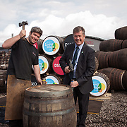 Diageo receives its accreditation as a Living Wage employer for it UK operations. Apprentice Calum Hendrie and Cabinet Secretary for Economy, Jobs &amp; Fair Work, Keith Brown MSP. The barrel park, Alloa Cooperage, Diageo. 01 Sep 2017. Photo by Tina Norris<br /> Copyright photograph by Tina Norris. Not to be archived or reproduced without prior permission and payment. Contact Tina on 07775 593 830 info@tinanorris.co.uk www.tinanorris.co.uk http://tinanorris.photoshelter.com