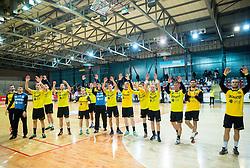 Players of Gorenje celebrate after winning during handball match between RD Slovan and RK Gorenje Velenje in Round #10 of 1. NLB Leasing liga 2015/16, on November 13, 2015 in Arena Kodeljevo, Ljubljana, Slovenia. Photo by Vid Ponikvar / Sportida