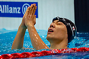 Naohide Yamaguchi of Japan celebrates winning the Gold Medal after winning the Men's 100 m Breaststroke SB14 during the World Para Swimming Championships 2019 Day 3 held at London Aquatics Centre, London, United Kingdom on 11 September 2019.