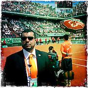 Roland Garros. Paris, France. May 30th 2012.Security during Federer's break