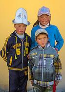 Kyrgyz kids near Karakul lake in Xinjiang Uyghur autonomous region, China.