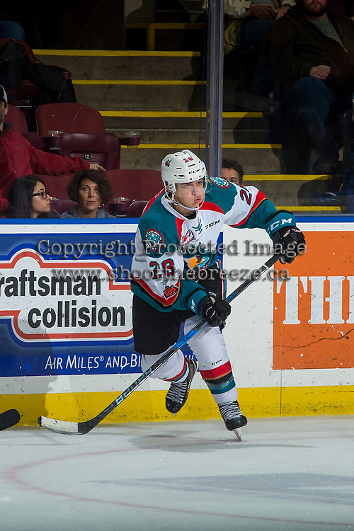 KELOWNA, CANADA - JANUARY 3: Leif Mattson #28 of the Kelowna Rockets passes the puck against the Tri-City Americans on January 3, 2017 at Prospera Place in Kelowna, British Columbia, Canada.  (Photo by Marissa Baecker/Shoot the Breeze)  *** Local Caption ***