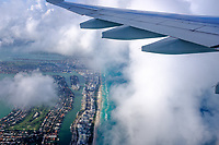 Aerial View of Miami Beach from an airplane window in Florida.
