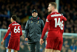 LIVERPOOL, ENGLAND - Sunday, March 3, 2019: Liverpool's manager Jürgen Klopp smiles at captain Jordan Henderson during the FA Premier League match between Everton FC and Liverpool FC, the 233rd Merseyside Derby, at Goodison Park. (Pic by Paul Greenwood/Propaganda)