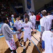 Delaware 87ers Guard DJ Seeley (18) is introduced to the fans prior the start of the start of the first half of a NBA D-league regular season basketball game between the Delaware 87ers and the Erie BayHawk (Orlando Magic) Friday, Mar. 27, 2015 at The Bob Carpenter Sports Convocation Center in Newark, DEL.