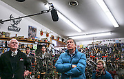 Republican presidential candidate Gov. John Kasich, R-Ohio, looks at a wall of taxidermy hunting trophies during a stop at the Walt Morse Sporting Good Store in Hillsboro,  N.H. Tuesday, Jan. 19, 2016.  CREDIT: Cheryl Senter for The New York Times