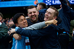 MANCHESTER, ENGLAND - Saturday, April 7, 2018: Manchester City supporters celebrate their side's opening goal during the FA Premier League match between Manchester City FC and Manchester United FC at the City of Manchester Stadium. (Pic by David Rawcliffe/Propaganda)