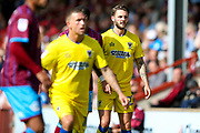 AFC Wimbledon defender Callum Kennedy (23) waits for a throw in during the EFL Sky Bet League 1 match between Scunthorpe United and AFC Wimbledon at Glanford Park, Scunthorpe, England on 5 August 2017. Photo by Simon Davies.