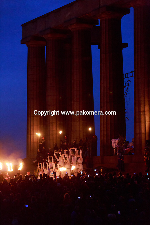 Edinburgh, Scotland, UK. 30th April 2017. Beltane Fire Festival plays host to a cavalcade of colourful characters and a narrative guides the night at Calton Hill, Edinburgh . Pako Mera