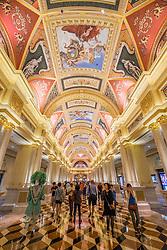 Ornate interior of  The Venetian Macao casino and hotel in Macau China